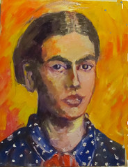 Frida--about 90+% done. (kevin63) Tags: lightner painting woman artist mexican frida kahlo rivera painter bright oil blouse dotted scarf