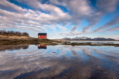 Tranquility (Danil) Tags: norway tranquilily lofoten boathousedanielbosmareflectioncloudscape redwater fjord bay naturalpattern sky light spring lowangle