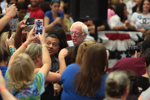 Bernie Sanders with supporters, From FlickrPhotos