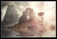 Photo artistry - escape the devil (mcleod.robbie) Tags: woman fog elegant harmony lady beauty blowing clothes conceptual art creative dream expression fairytale fantasy free freedom glamour gorgeous hair magic magical nature outdoor park pastel person pink sunrise sunset weather wind