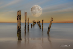 Bridport Jetty....... and how the 'super moon' could have looked! (SteveWhitworthPhoto) Tags: australia tasmania northerntasmania bridport bridportjetty historical history longexposure composite photoshopcomposite bigstopper nikon nikond800e nikon1635mmf40 moon