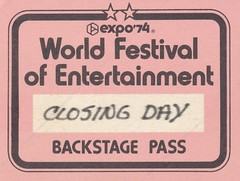 Expo '74 World Festival of Entertainment Closing Day Backstage Pass (The Cardboard America Archives) Tags: 1974 worldsfair spokane washington expo74 vintage