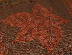 Maple Leaf (Oh Ya, Winter's Here..Bring Snow Plz!) Tags: macro macromondays mapleleaf embroidered orange thanksgiving autumn rust stitch stitches cloth colourful veins 5points stem contrasts