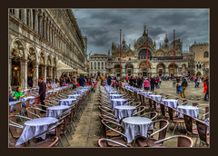 Piazza San Marco (Kevin, from Manchester) Tags: adriatic architecture building canals canon1855mm dogespalace gondolas hdr harbour historical italy kevinwalker panorama panoramic photoborder stmarkssquare thegrandcanal venice waterways