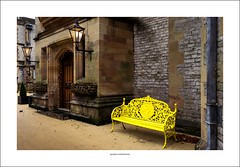 Yellow bench, Thornbridge hall (Descended from Ding the Devil) Tags: derbyshire emount sonya7mkii sonyalphadslr thornbridgehall autumn bench deadleaves door drainpipe lamps lead photoborder yellow