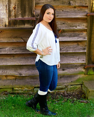 Rustic Bluejean Babe... (R.A. Killmer) Tags: seniorphotos girl highschool senior baldwin southpark rustic jeans blue attitude cute sassy teen smile boots