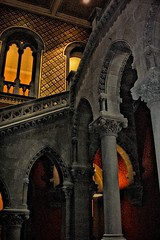 New York State Capitol ~ Albany New York ~ Million Dollar Staircase (Onasill ~ Bill Badzo - New Format) Tags: park plaza ireland windows light chimney sky ny newyork building texture wales architecture stairs facade see scotland us site mood lafayette moody arch exterior thomas district interior united fixtures nation skylight property style atmosphere indoor nelson landmark tags beta historic gargoyle textures architect henry capitol national add staircase albany government neo vault states must tours romanesque perry attraction fuller issac richardson revival stae renasissance richardsonian albanycounty contributing nrhp rockeffer emprirestateplaza onasill eiditz empirestateplazacapitolparl