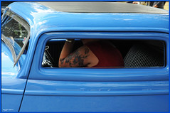 Hot-rod, flowers & butterfly (ericbaygon) Tags: blue flower fleur car tattoo nikon meeting bleu papillon american hotrod tatouage d300s