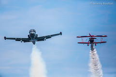 Pair of Smokers (JKmedia) Tags: two sky inflight close display aircraft smoke twin bluesky airshow together smokey airborne aerobatic dawlish airbourne flypast ef100400mmf4556lisusm 15challengeswinner canoneos5dmkiii boultonphotography