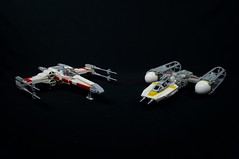 Mike Psiaki X-wing (75102 refit) & BTL-A4 Y-wing (Version 2) (Brickwright) Tags: starwars lego xwing v2 yavin starfighter ywing psiaki