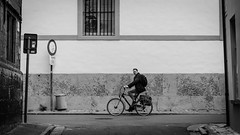 Ghent Cyclist and Strollers 2 (SlickSnap Steve) Tags: people urban blackandwhite bw monochrome nikon belgium candid steve streetphotography beckett ghent gent 2015 d7000