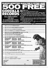 Win 500 Godzilla Records, 1978 contest (Tom Simpson) Tags: vintage advertising contest ad advertisement godzilla 1978 1970s vintagead famousmonsters entryform