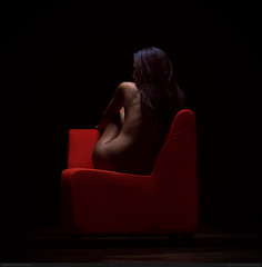 Red (with Delphine). (bcud14) Tags: red woman dark studio nude square back chair lowkey