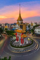 Gaeway china town Bangkok , THAILAND (jimmykkwtphoto) Tags: trip sky tourism skyline asian gold twilight asia chinatown buddha buddhist pray chinese journey nightlight gateway destination tracel bangkoktemple lighttrial tourismthailand