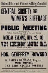 Suffrage meetings and events: Central Society For Women's Suffrage: A Public Meeting In Connection With The Fulham Constituency Work25 Nov 1901
