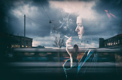 untitled . (helmet13) Tags: sky people woman cinema window clouds media gothenburg tram actress filmstill shopwindow streetcar contemplative windowreflection aoi industrialbuilding rachelweisz 300faves peaceaward heartaward platinumheartaward world100f platinumpeaceaward leicaxvario