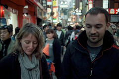 Susie & John (Jason_Combs) Tags: people woman man film japan 50mm tokyo shibuya    portra  rokkor kodakportra400   centergai  minoltasrt102 believeinfilm