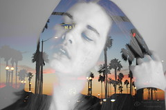 California Dreaming (Rachael_Martin) Tags: california trees sunset girl overlay palmtrees