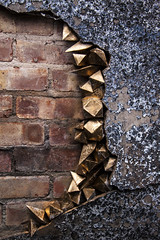 gold with brick wall 1 (jimmymaxfield1) Tags: urban industry nature wall gold crystal decay crack geodes