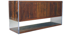 Lucite and reclaimed wood console