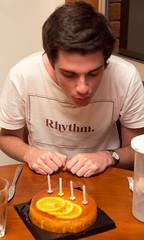 MEvans turns 19, blows on his cake (obLiterated) Tags: matts19thbirthday matt birthdays runcorn home