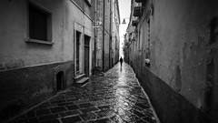 A shadow - Troia, Italy - Black and white street photography (Giuseppe Milo (www.pixael.com)) Tags: calm print street italy italia morning contrast mysterious monochrome photography bw troia geotagged white fineart tranquil prints puglia old foggia faceless canvas depth peaceful urban streetphotography candid photo european city horizontal blackandwhite wallart photograph europe black onsale