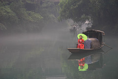 misty morning (stevenp74) Tags: three gorges river china chinese water trees girl umrella red green reflection sony a7 samyang 135mm f2 manual focus yangtze tribe brookside village boat misty fog fishing scenic outdoor colour dam waterway