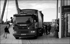 Recycling men (* RICHARD M (Over 5 million views)) Tags: street candid mono blackwhite recyclers recycling recyclingmen recyclinglorry recyclingwagon recyclingtruck scania scaniatruck southport sefton merseyside workers workingmen menatwork transport trucking commercialvehicles hgv wastecollection dumpsters wastebins foodrecyclers foodrecycling earningaliving