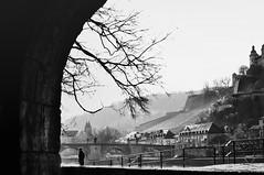 "waiting ... ""Where The River Flows"" (eggii) Tags: wrzburg bavaria germany main river bridge bw mono mood"