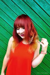 (Kalev Lait photography) Tags: woman red green contrast redhead dress diagonal vivid