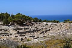 Kameiros (lGBSl) Tags: ancient square houses street city rhodes sea plinth steps tree fountain walls island ocean greece column greek kameiros pillar