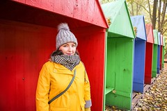 Primary Colours (Strangelove 1981) Tags: michelle berlin colour colourful tiergarten park red yellow blue green neuesee winter yellowraincoat raincoat portrait portraiture