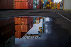Wet container harbor... (.: mike | MKvip Beauty :.) Tags: sonya6000 sonyilce6000 sonyalpha6000 sonyalpha sony alpha emount a6000 ilce6000 sigmaex50mmf14dghsm sigma 50mmf14 ex dg hsm canonef adapter cameraplus viltrox viltroxspeedboosterefeaf afadapter efnex eftoemount primelens prime manualfocusing manualexposure manual handheld availablelight naturallight autumn fall harbor rhineharbor containers water puddle reflection hafen rheinhafen woerthamrhein germany europe mth mkvip