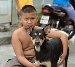 a dog and his boy (the foreign photographer - ) Tags: jul192015nikon black brown dog boy khlong lard phrao portraits bangkhen bangkok thailand nikon d3200