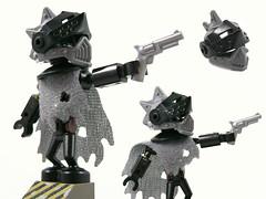 Specterbot (Unijob Lindo) Tags: lego minifig figure bot robot pistol gun revolver punk mohawk helmet alien knight visor wraith cape cloak specter spectrebot spectre specterbot black clip legs post apocalyptic steampunk android robots minifigure fig edgy