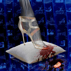 Cinderella's stepsister (jopperbok) Tags: jopperbok werehere wah hereios fairytale fairytales mrchen sprookje grimm photoshop photomanipulation manipulation foot too rontgen rntgen pillow cushion blood mutilation automutilation blue dark cruel cruelty cinderella assepoester aschenputtel stepsister shoe glass slipper fairy marchen tale