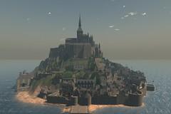 Mont Saint Michel is Back!! (ErikoLeo) Tags: flickrlovers landscape firestorm secondlife secondlife:region=montsaintmichelsecondlifeparceledelweisslemontsaintmichelsecondlifex78secondlifey134secondlifez94 montstmichel