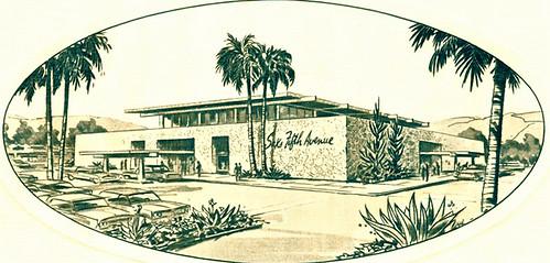 Saks Fifth Avenue artist rendering of new Phoenix Arizona store at Biltmore Fashion Center 1965