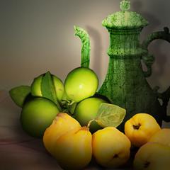 Quinces and lemons (jaci XIII) Tags: marmelo limo fruta jarro chaleira naturezamorta quince lemon fruit jug kettle stilllife