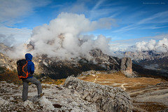 Dolomites - Cinque Torri View (Nicholas Olesen Photography) Tags: italy dolomites mountains hiking person man hiker clouds view vista landscape nature outdoors activity rocks europe horizontal travel nikon d7100 cinque torri