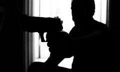 #FlickrFriday -- Silhouette (bboneyardd) Tags: black white blackandwhite monochrome gun nikon d5200 nikkor flickrfriday flickrfridaysilhouette