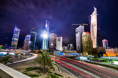 The Buzz (buhamdi) Tags: city longexposure blue light lightpainting colors beautiful beauty architecture clouds landscape lights nikon cityscape middleeast lighttrails bluehour kuwait q8 d600