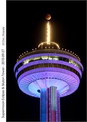 Supermoon Eclipse & Skylon Tower  2015-09-27 (jwvraets) Tags: longexposure moon night niagarafalls eclipse nikon gimp niagara opensource lunareclipse skylontower d7100 rawtherapee nikor70300mmvr supermoon