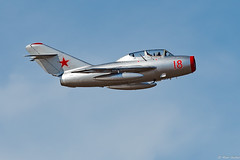MIG-15 - Southport Airshow 2015 (Redoux) Tags: blue red sea sky cloud beach silver airplane seaside nikon tank jet 15 airshow russian southport pilot mig 2015 nikor 70200mmf28