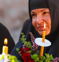 The Cutest Nun in The Holy City of Jerusalem (ybiberman) Tags: flowers portrait israel candle veil candid jerusalem streetphotography nun procession russian virginmary churchoftheholysepulchre oldcity alquds theotokos christianquarter