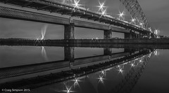 Runcorn:Widnes Bridges. 19th October 2015. (craigdouglassimpson) Tags: england water reflections cheshire bridges runcorn nightscenes widnes manchestershipcanal silverjubileebridge