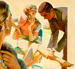 One Date with the Boss, Redbook Magazine illlustration, June 1953 by Edwin Georgi (Tom Simpson) Tags: woman illustration vintage leg romance smoking 1950s illlustration 1953 redbookmagazine edwingeorgi onedatewiththeboss