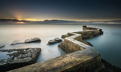 Sunrise over St Monans Harbour Wall (roseysnapper) Tags: longexposure sea sky cloud sunrise dawn scotland harbour fife zigzag fishingvillage stmonans seadefences harbourwall leefilters nikond810 nikkor1424f28 bigstopper leesw150