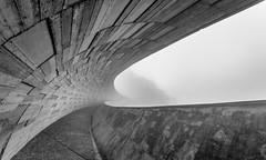 bridge-0003184-1 (mingshah) Tags: bridge bw mist mountains nature architecture clouds river concrete taiwan engineering yilan span