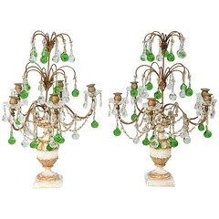Pair of Italian Girandoles Decorated with Emerald Colored Crystal Drops (thehighboy) Tags: lighting italian miami antiques collectibles highboy candelabras girandoles emeraldcrystaldrops